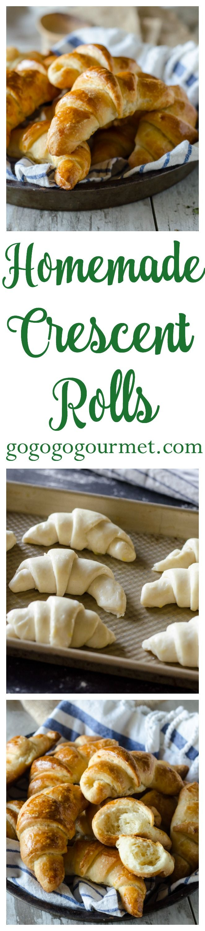 These homemade crescent rolls are easier than you think to make- most of the work is chilling time! You may never buy those pop-cans again! Homemade Crescent Rolls | Go Go Go Gourmet @gogogogourmet