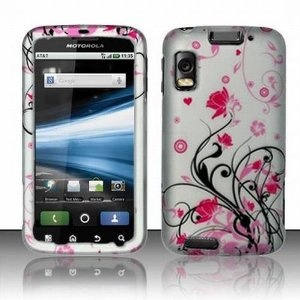Blossoming Pink Flower Protective Hard Rubberized Case Cover Design for AT Motorola Atrix 4G (Wireless Phone Accessory)