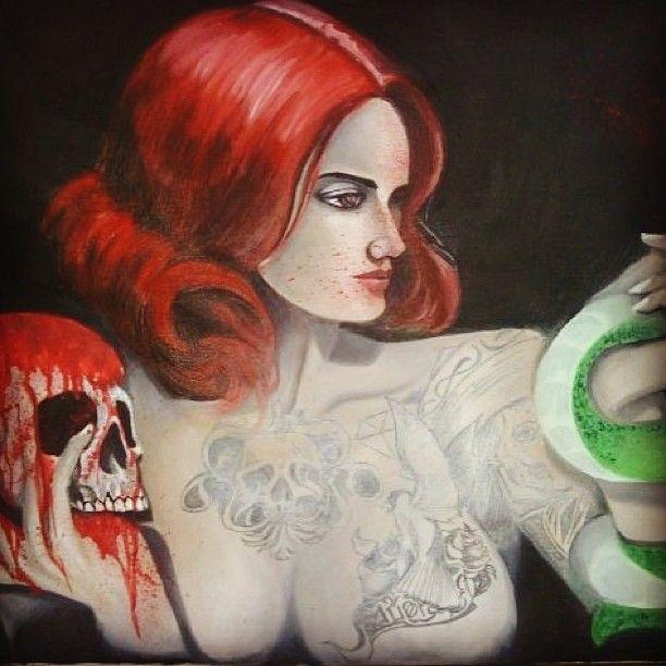 avrilliarts photo #pinupsgirl #poisonlady #canvas #oilpainting