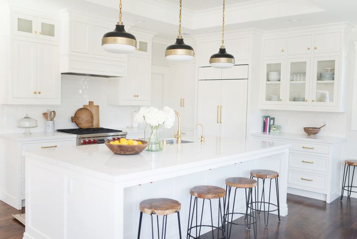 White+and+Gold+Kitchen+E-Design+by+Studio+McGee.jpg  Like:  pendant lights