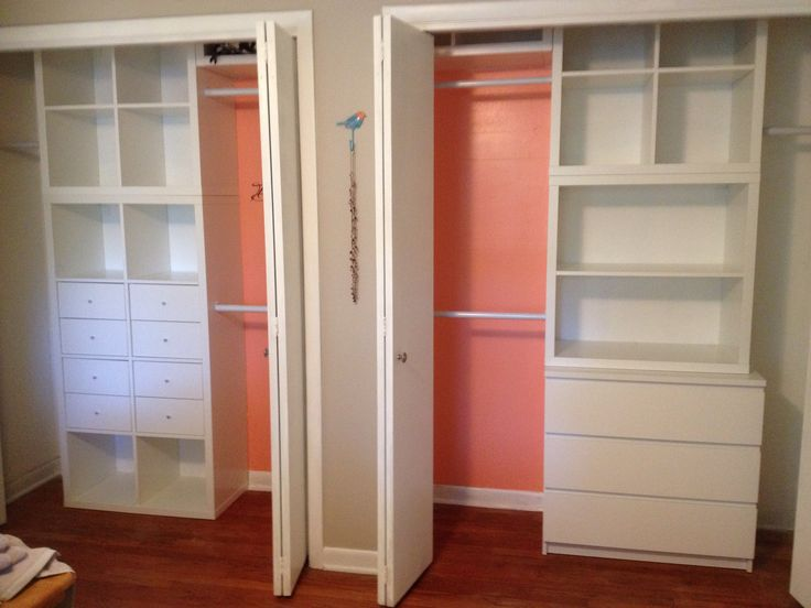 Master closet: IKEA Kallax shelving (with one modification), IKEA Malm 3 drawer …