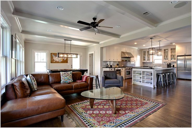 Kitchen Design Family Room Contemporary Dallas Beams Brown Leather Sofa Ceiling Fan Crown