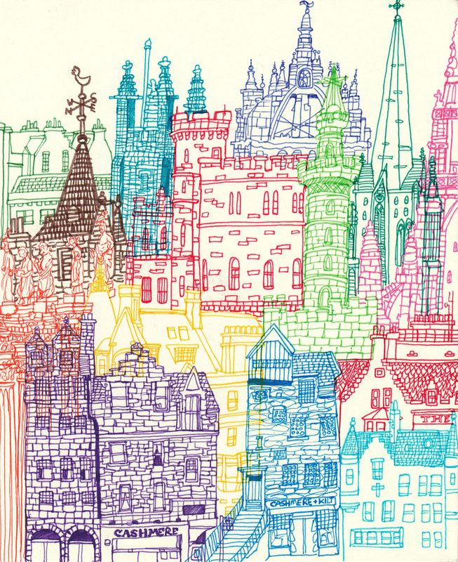Edinburgh Towers by cheism / Chetan Kumar, on Society6