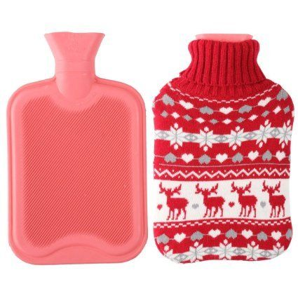 2 Liter Premium Classic Rubber Hot Water Bottle with Cute Knit Cover (2 Liter, Red / Christmas Reindeer):   Classic hot water bottle that is superior to other hot water bottles on the market! Our hot water bottle is manufactured to ensure maximum safety and retain heat longer. It is made from natural rubber. <br> <br> <b>CARE INSTRUCTIONS</b> <br> To ensure maximum life from the hot water bottle please read the following: <br>When filling the hot water bottle,DO NOT USE BOILING WATER.T...