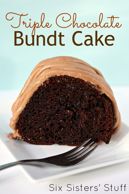 Easy cake mix Triple Chocolate Bundt Cake- seriously the best chocolate cake