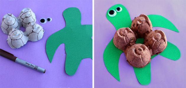 Make an egg #carton #turtle - A fun #recycling craft for kids! #JimmysGoneGreen