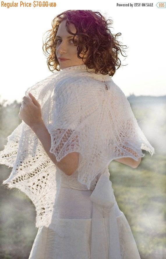 SALE 15% OFF White Hand knitted shawl wedding by DosiakStyle