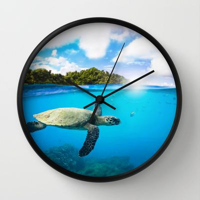 Tropical Paradise by Nicklas Gustafsson #turtle #ocean #sea #marinelife #diving #wallclock #clock