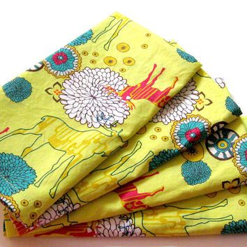 Cloth Napkins - Sets of 4 - Bright Yellow Moose Turquoise Blue Hot Pink Flowers Woodland - Dinner, Table, Everyday, Wedding