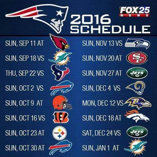 2016 PATS Schedule