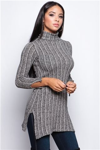 Bronia Grey Knitted Cowl Neck Jumper at misspap.co.uk