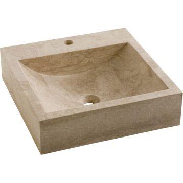 vasque poser ninon en pierre 45 x 45 cm leroy merlin 199 lavabo robinet pinterest. Black Bedroom Furniture Sets. Home Design Ideas