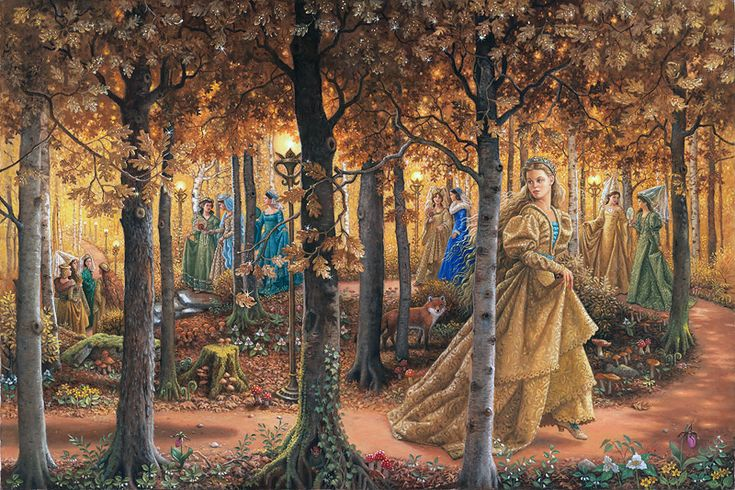 The Golden Wood - wraparound cover art for The Twelve Dancing Princesses by Ruth Sanderson