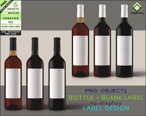 Blank Long Label Png Wine Bottle 6 Png Bottles With Red Wine Etsy Wine Bottle Red Wine Bottle