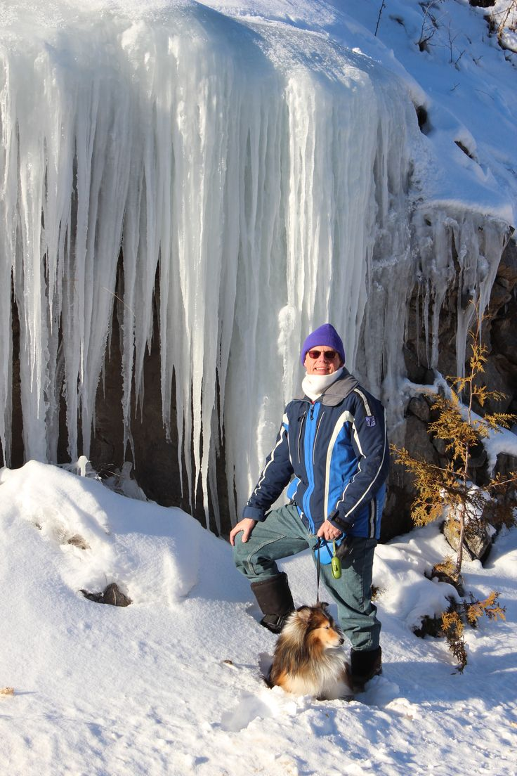 Winter hiking at the cottage is often spectacularly beautiful. Frozen waterfalls like this one can look like works of art in the winter sunshine. This one is just 10 minutes from the cottage.