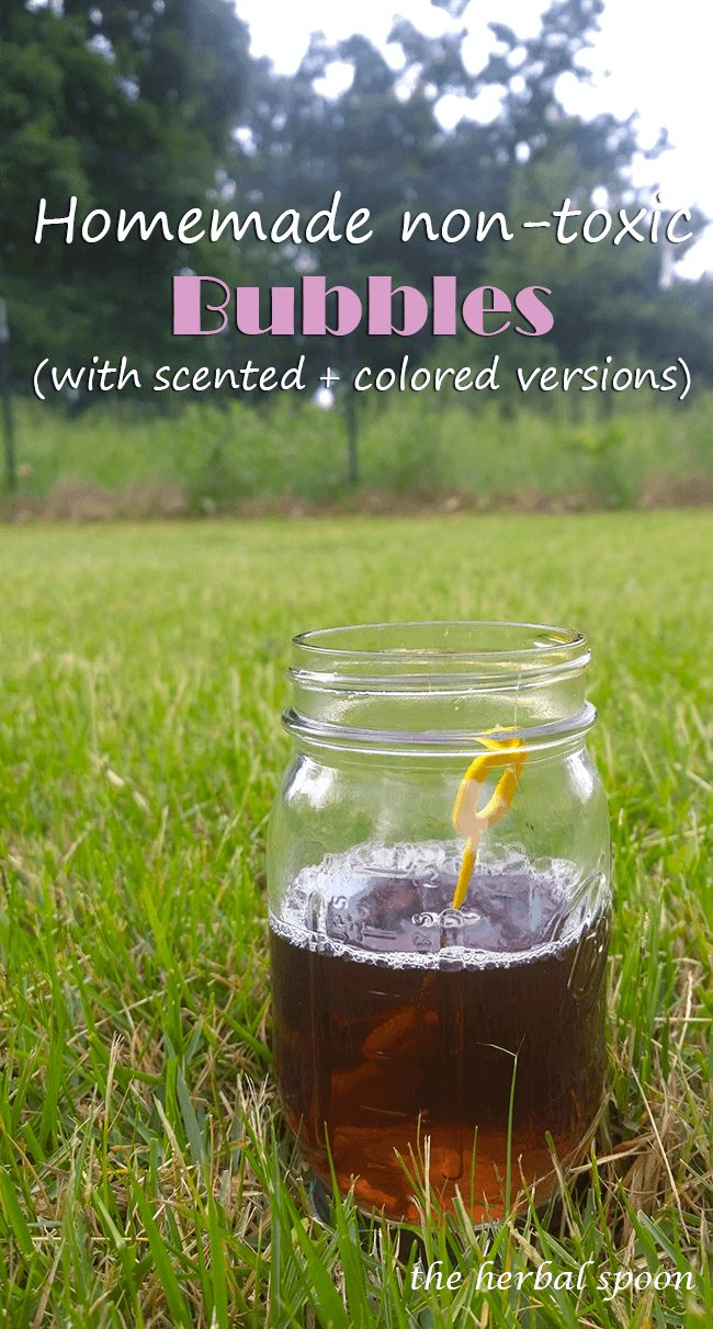 Non-toxic homemade bubbles with naturally scented and colored options - The Herbal Spoon
