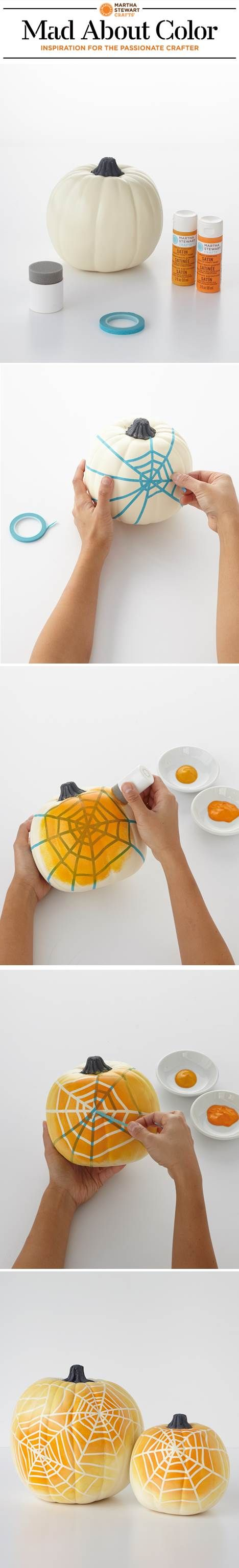 #DIY ombre spiderweb pumpkins with paints and tools from #marthastewartcrafts: