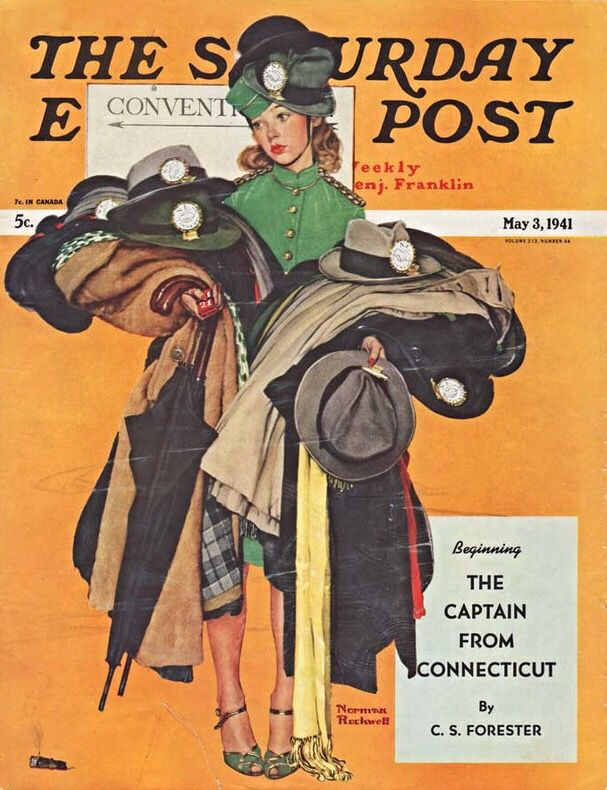 Hatcheck Girl. Saturday Evening Post, May 3, 1941 (Norman Rockwell)