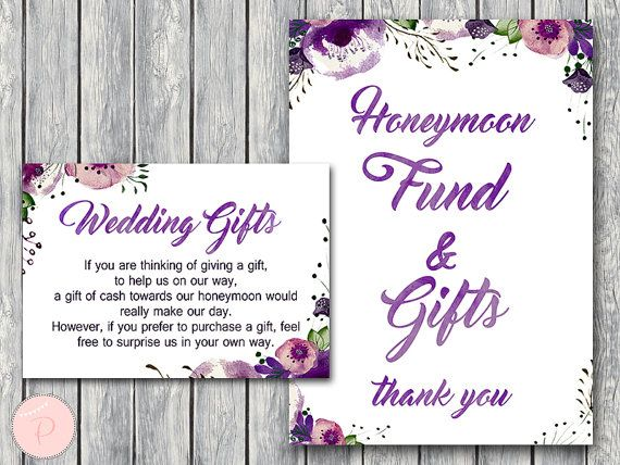 Purple Wedding Gift Honeymoon Fund Card and Sign by BrideandBows