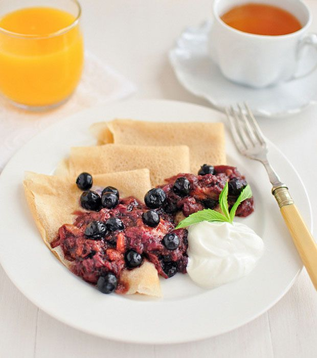 Gluten-Free Crepes with Peach & Blueberry Compote Recipe – RecipeChart.com