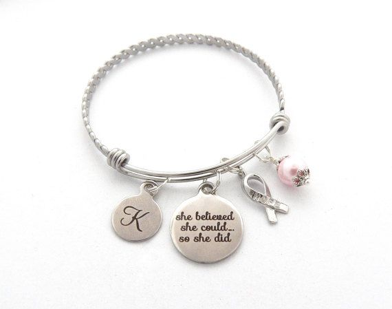 Cancer Survivor Gift, Cancer Awareness Jewelry, Get Well Gift, She believed she could, Recovery Gift, Survivor jewelry, Encouragement gift