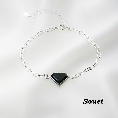 ONYXオニキスダイヤカット ブレスレット     #silveraccessory #Souei #onyx #bracelet #オニキス
