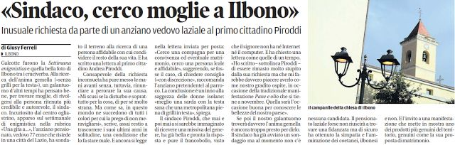 """SCRIVOQUANDOVOGLIO: """"SINDACO CERCO MOGLIE A ILBONO"""" (11/07/2017)"""