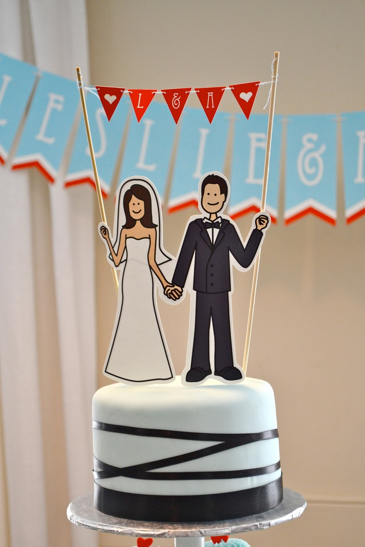 Illustrated Cake Topper and Pennant Banner - Customizable. So Cute!