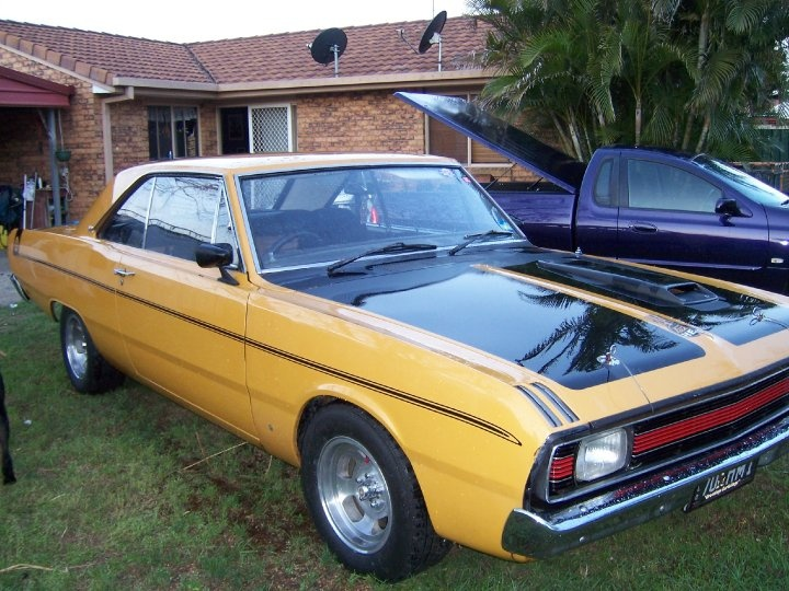 """My 1970 Chrysler Valiant Pacer Hardtop. Australian made Valiant, the hardtop's are very similar to a '68 Dodge Dart from the firewall back.  1970 was the first year for the 6-cylinder Hemi 245.  Mine has a few mods - 4-speed gearbox from a Charger, bored .060"""", mild cam, 4-barrel manifold and carb, and E49 style headers."""