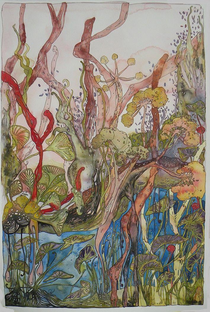 Aquarelle et encre - Lucie Collot - (583) - 39x59cm - création originale - disponible à la vente