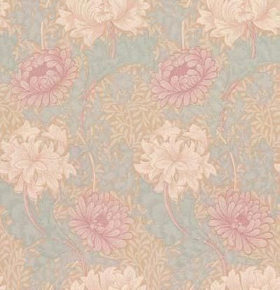 Chrysanthemum (WM7612/3) - Morris Wallpapers - A flat wallpaper that is suitable for use in most rooms. It is not however recommended for use in kitchens or bathrooms.