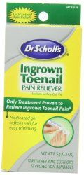 This ingrown toenail pain reliever is from Dr. Scholl's and it helps you with relieving the pain from ingrown toenails in the comfort of your home. It gives you the most advanced ingrown toenail treatment and it's been proven to help people with the problems of ingrown toenails by softening the nails.Find out more by clicking the following link: http://sock-online.com/