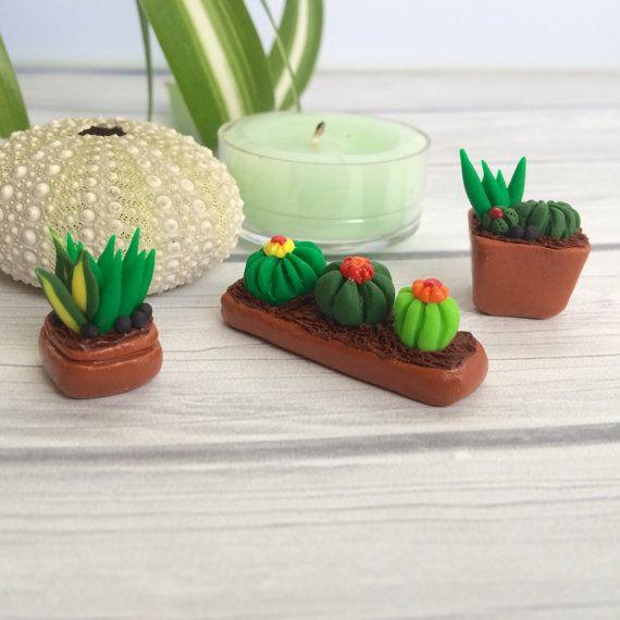 Artículos similares a Arcilla de polímero pequeñas plantas, Succulants y cactus, único regalo Super dulce, conjunto de jardín pequeño, planta de amante en Etsy