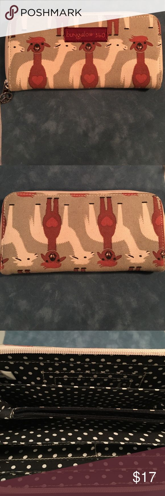 """Adorable llama wallet! Bungalow 360 llama print canvas zip around wallet, lt. olive/cream/brown, 7-3/4""""W x 3-3/4""""H x 1""""D...hardly used---EUC! Bungalow 360 Bags Wallets"""
