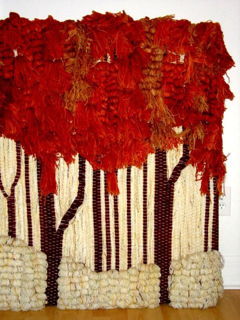 "1stdibs.com | Ted Morris Textile Rug Weave Wall Sculpture ""Fall Trees"" Tapestry"