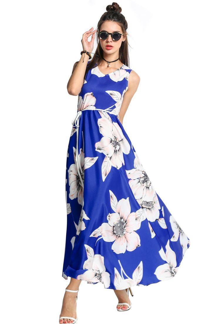 Women V-Neck Sleeveless Floral Print Long Maxi Swing Dress dresslink.com