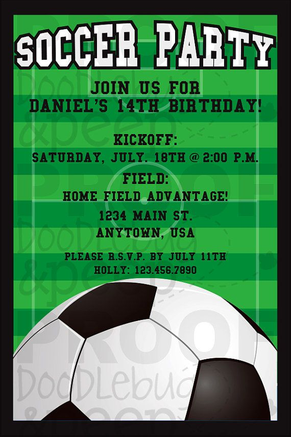 Soccer Birthday Invitation DIGITAL FILE by doodlebugandpeep, $12.00
