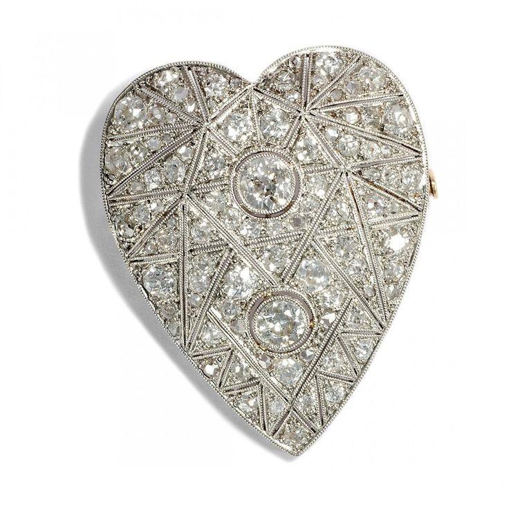 Ein Herz des Art Déco: Platin Diamant Brosche um 1925 Altschliff Diamanten