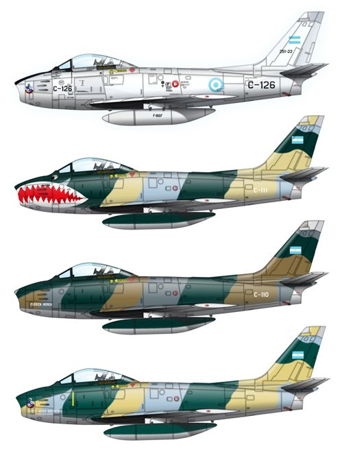 Argentinian Air Force North American F-86 Sabre profiles.