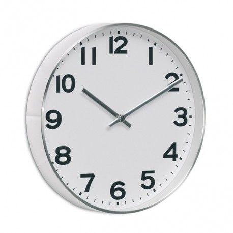 Reloj pared White Reloj de pared con perfil de aluminio y fondo blanco. Disponible en diámetros de 25 y 30 cm. Fondo 4 cm. Batería no incluida.