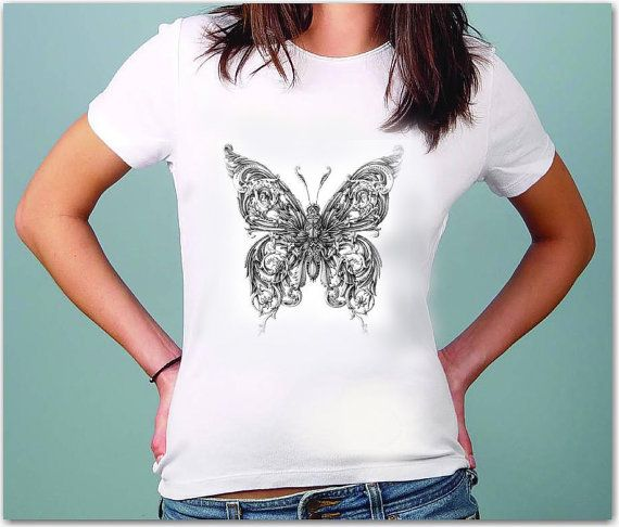 Butterfly  T-Shirt - Drawing  t-shirt for women by TShirtpanic