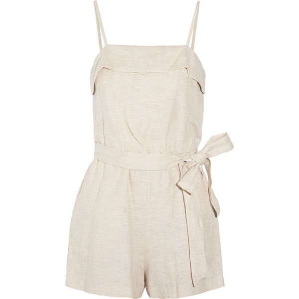 Alice + Olivia Rosetta linen playsuit ($175) ❤ liked on Polyvore featuring jumpsuits, rompers, playsuits, alice + olivia, dresses, cream, pink jumpsuits, loose jumpsuit, linen romper and cream jumpsuit