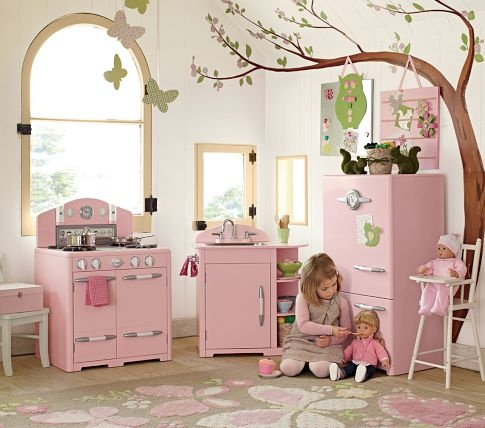 Pink Retro Kitchen Collection | Pottery Barn Kids.   Just got the oven...looking forward to adding on