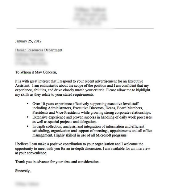 The 25+ best Good cover letter examples ideas on Pinterest - sample cover letter executive assistant