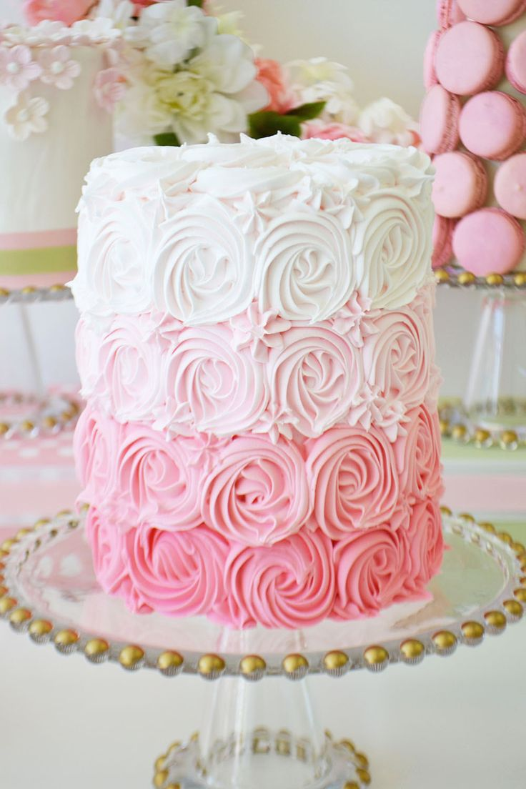Beautiful rosette cake in ombre shades of pink by Bake Sale Toronto.