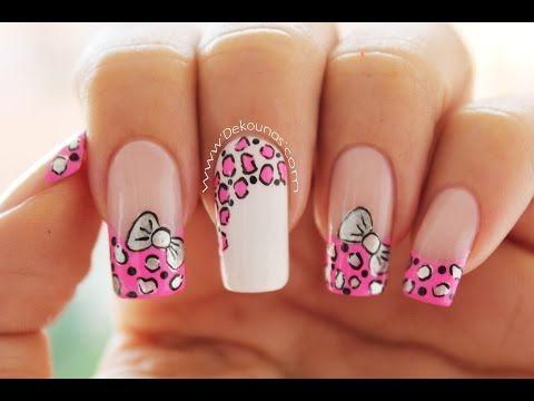 Decoración de uñas animal print y moño - animal print & bow nail art - YouTube