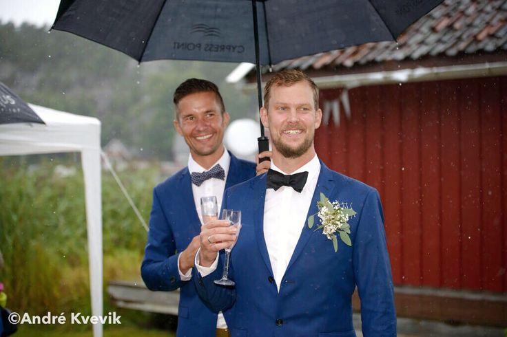 Groom and best man. Wedding at Hankø, Fredrikstad, Norway