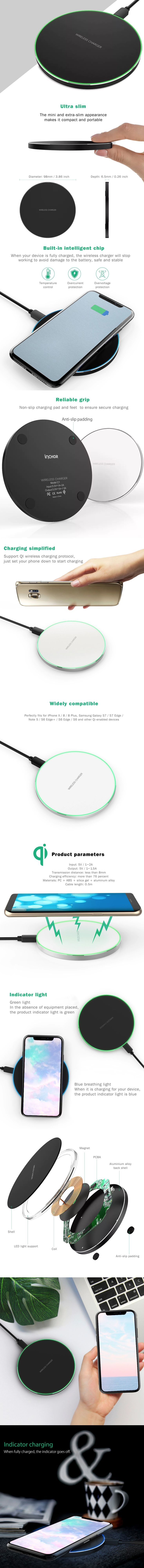 Less than 8$ - 9,5€ INCHOR C1 Ultra Slim Qi Wireless Fast Charger - Cargador Qi inalámbrico #qicharger Suitable for iPhone X / 8 / 8 Plus, Samsung Galaxy S7 / S7 Edge / Note 5 / S6 Edge+ / S6 Edge / S6 and other Qi-enabled devices