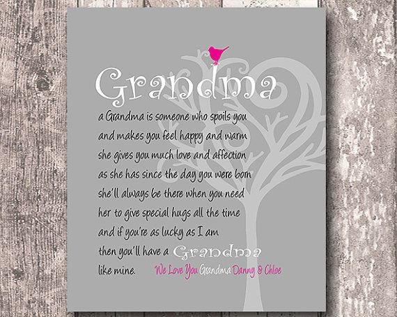 Gift for Grandma, Gift from Grandkids, Personalized Art Print, We Love You Grandma, Birthday Gift, Gift for Home, Any Color Available