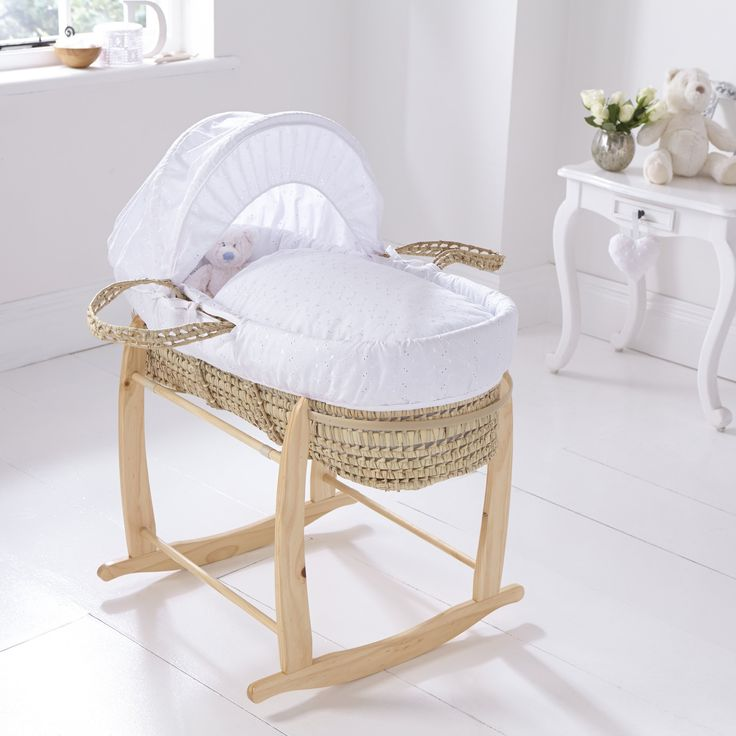 Clair de Lune Broderie Anglaise Moses Basket with Short Skirt (Palm): Amazon.co.uk: Baby 86 x 40 x 25 cm @ £44.99